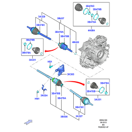 Пыльники ШРУС переднего привода внутренние комплект Ford Kuga 2 (2013-н.в.)