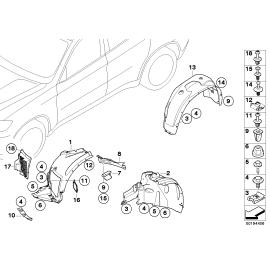 Подкрылок передний левый задняя часть BMW X6 E71 (2008-2014)