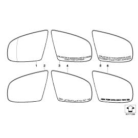 Стекло панорамного зеркала правое BMW X6 E71 (2008-2014)