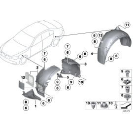 Подкрылок передний левый передняя часть BMW 7 F01 (2008-2015)