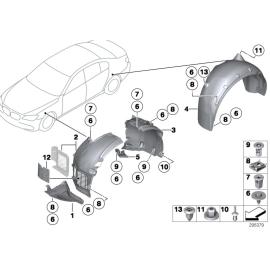 Подкрылок передний правый задняя часть BMW 7 F01 (2008-2015)