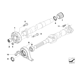 Опора заднего карданного вала промежуточная BMW X3 E83 (2006-2010)