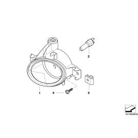 Фара противотуманная (ПТФ) круглая правая BMW 5 E60 (2003-2010)