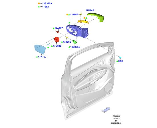 Элемент зеркала правый Ford Kuga 2 (2013-н.в.)