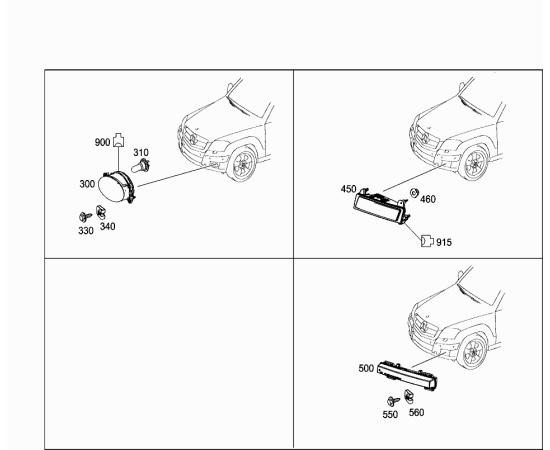 Фара дневного света правая Mercedes GLK-klass X204 (2012-2015)