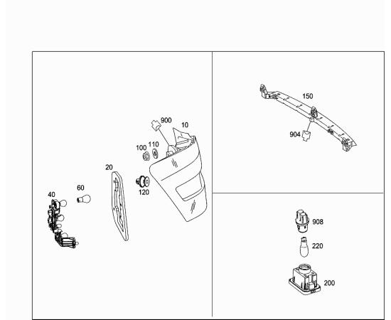 Фонарь освещения номерного знака Mercedes GLK-klass X204 (2008-2015)