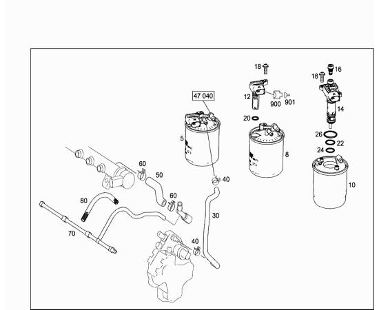 Фильтр топливный с нагревательным элементом, дизель Mercedes S-klass W221 (2005-2013)