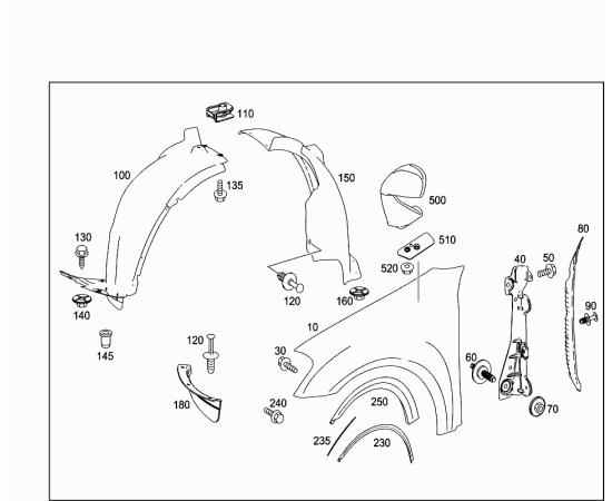Подкрылок передний левый задняя часть Mercedes ML-klass W164 (2005-2011)